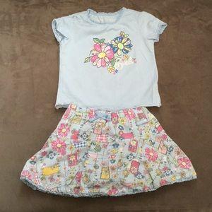 Girls Children's Place tee and matching skirt set.